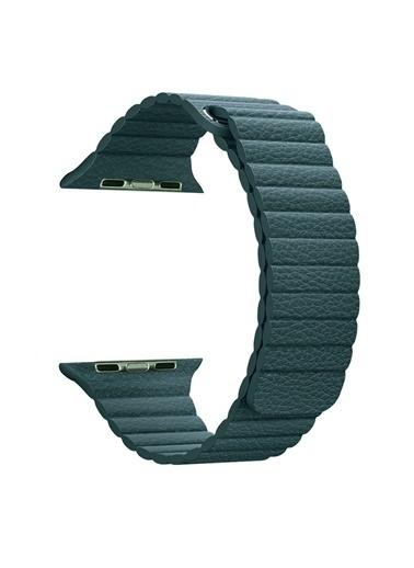 Microsonic Apple Watch Series 5 44mm Twist Leather Loop Kordon Yeşil Yeşil